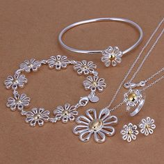 silver plated jewelry set,Nickle free antiallergic Colorful Chrysanthemum Ring Earrings Bangle Bracelet Necklace Jewelry Set #Affiliate