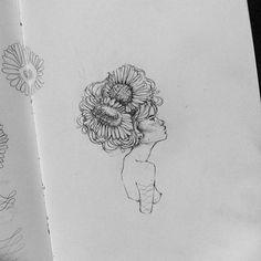 flowers instead of hair, pencil illustration