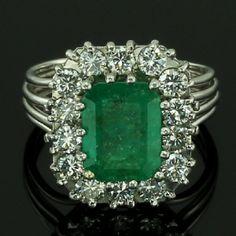 White gold estate diamond and emerald ring