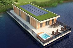 A CGI Plan of a 2 bed Eco-Lodge at Tyram Lakes, showing the lake view terrace with hot tub, solar panels and internal footprint. Lake Hotel, Boat House, Nature Reserve, Under Construction, Lake View, Resort Spa, Footprint, Cgi, Solar Panels