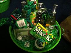 St Patricks day gift baskets for the boys!