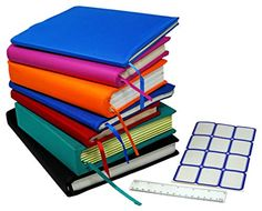 Stretchable Jumbo Book Covers 7 Pack Individual Colors Book Suits fits Hardcover Textbooks up To X Durable Washable Reusable Extras Labels and Ruler