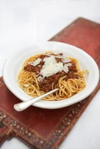 Spaghetti Bolognese is a classic. You don't need a lot of ingredients to create a really tasty dish and cooking it in the oven means you get great depth of flavour. It's a perfect meal for kids – don't be worried about the wine as the alcohol cooks away.