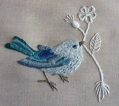 Embroidery Thread Holder unlike Embroidery Patterns Software within Embroidery Stitches For Flowers Embroidery Designs, Crewel Embroidery Kits, Embroidery Needles, Hand Embroidery Patterns, Embroidered Bird, Bird Crafts, Blue Bird, Needlework, Couture