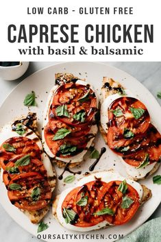 Classic caprese flavors are layered over charred grilled chicken in this 30 minute weeknight dinner. Caprese Chicken is destined to a be a family favorite! Poulet Caprese, Caprese Chicken, Grilled Chicken, Gluten Free Recipes For Dinner, Healthy Dinner Recipes, Cooking Recipes, Health Dinner, Le Diner, Weeknight Dinners