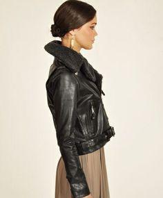 Black Aviator Biker Jacket