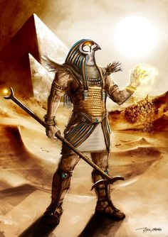 Horus- Egyptian myth: a falcon headed patron god. He was the god of vengeance, war, the sky, and the sun. He was a very important figure in Egyptian religion.