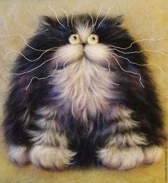Draw a cat based on paintings by Kim Haskins - Fair Masters - painting with wool
