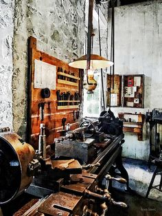 Fine Art Print Available! - 'Small Lathe In Machine Shop' by Susan Savad - A lathe is a machine tool which rotates the workpiece on its axis and makes an object which has symmetry about an axis of rotation.  #machinist #machineshop #industry #lathe AS LOW AS $37