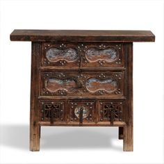 Chinese antique elm carved coffer, circa 1880 from  Shaanxi.