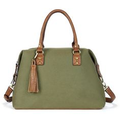 Sole Society Jodi Duffel With Tassels (1,105 MXN) ❤ liked on Polyvore featuring bags, luggage and olive