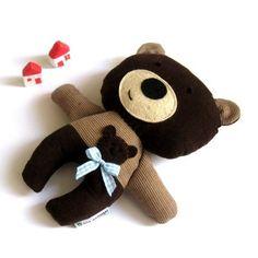 Teddy bear plushie handmade rag doll toy gift by meilingerzita