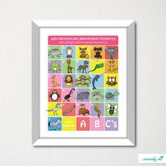 11x14 ABCs Animal Alphabet Art / Nursery Decor / Children Wall Art / Baby Shower Gift. $25.00, via Etsy.