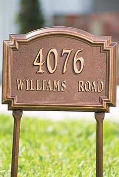Use our Williamsburg Address Plaques to announce your address in raised golden-bronze characters on a background of your choice.