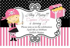 Pink Pirate Party, DIY Printable Card, Party Invitation, Birthday Card, Holiday, Card, Digital File, JPG
