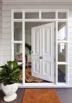 Hamptons custom cricket bat profile painted front entrance door.