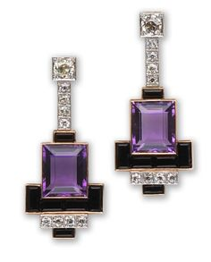 A pair of amethyst, onyx and diamond earrings  each of geometric design, suspending a line of old European-cut diamonds with rectangular-cut amethyst and calibré-cut onyx terminals; estimated total amethyst weight: 18.20 carats; estimated total diamond weight: 2.70 carats; mounted in eighteen karat gold. Art Deco or Art Deco style.