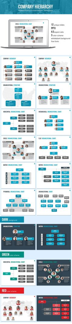 Organizational Chart and Hierarchy Template - Business PowerPoint Templates: