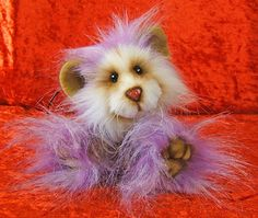 Blackcurrant  Fizz a 5 inch Mohair and Faux Fur Artist Mouse Bear on Etsy, $101.00