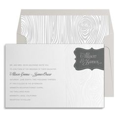 """There's nothing ordinary about this designer wedding invitation (unless you consider an embossed wood grain pattern, luxurious silver ink, and diamond-white paper with a sparkling finish to be """"ordinary""""). Your custom invitation text prints on the left side of the rectangular invite in dark gray ink. The right side of the card is adorned with a gorgeous embossed wood pattern and topped with a decorative gray paper tag that showcases the couple's names in beautiful silver ink. Show with…"""