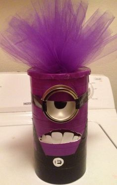 Mailbox for Valentine's Day - Purple Minion - The TipToe Fairy Minion Valentine, Valentine Day Boxes, Valentine Crafts For Kids, Valentines Day Party, Be My Valentine, Valentine Ideas, Diy Valentine's Mailbox, Purple Minions, Holidays With Kids