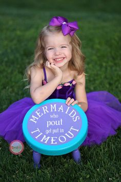 "Handmade ""Timeout"" Stool - Mermaid Theme - Girls - Foot Stool - Thinking Chair - Playroom - Decor - Bedroom - Gift - Parents - Children"