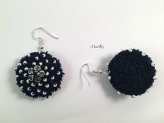 Excited to share the latest addition to my #etsy shop: Navy blue crochet half ball earrings with white seed beads and bead cups https://etsy.me/2KNRD6p #jewelry #earrings #blue #earwire #steel #no #girls #white #earlobe