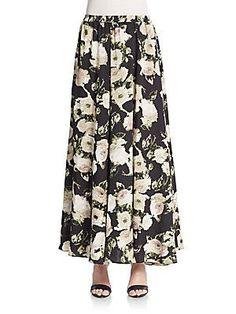 Lucky & Coco Mega Sweep Maxi Skirt - Black - Ivory - Size