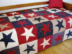 Modern Patchwork Lap Quilt Cottage Chic Bright by SallyManke