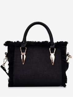 Purse · Frayed Edge Denim Tote B - BLACK Tools And Equipment 061aa3ce32ab5
