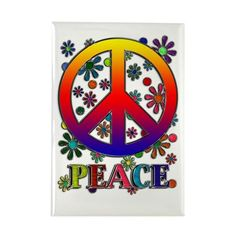 Peace Sign copy Rectangle Magnet Retro Peace Sign & Flowers Rectangle Magnet by Blake Henry Robson - Artist - CafePress Hippie Peace, Happy Hippie, Hippie Love, Hippie Art, Hippie Trippy, Hippie Chic, Peace Love Happiness, Peace And Love, World Peace