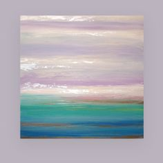 "Acrylic Abstract Painting Original Art Titled: LAVENDER WATERS 4 40x40x1.5"" by Ora Birenbaum"