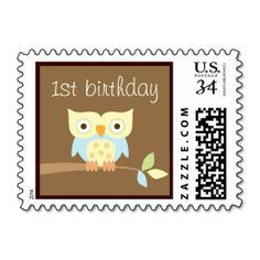 1st Birthday Owl Postage Stamp