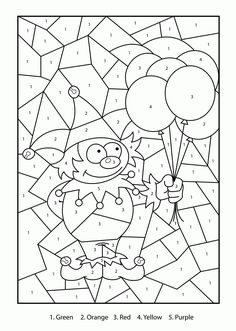 Color by Number Clown coloring page for kids, education coloring pages printables free - Wuppsy.com