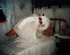 Floating body... a fun way to decorate a bedroom for your   Halloween party.