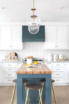 Navy And White Kitchen With Butcher Block Island Herringbone Backsplash Whitekitchens Ideas