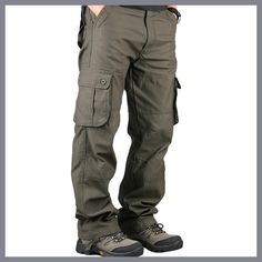 Buy Pants Men's Cargo Pants Casual Mens Pant Multi Pocket Military Overall Men Outdoors High Quality Long Trousers Plus size Tactical Cargo Pants, Tactical Clothing, Mens Cargo, Cargo Pants Men, Men's Pants, Work Trousers Mens, Fleece Pants, Mode Masculine, Casual Outfits