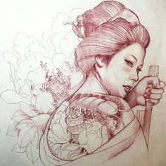 Geisha Tattoos, Geisha Tattoo Design, Geisha Kunst, Geisha Art, Japanese Tattoo Art, Japanese Tattoo Designs, Samurai Tattoo, Samurai Art, Japanese Geisha
