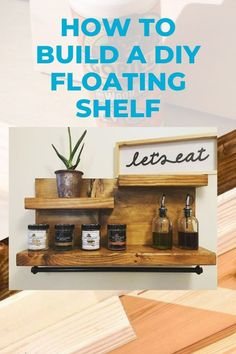 Easy plans to build a homemade floating shelf for storage and home decor. Simple yet versatile DIY floating shelf that looks great anywhere in the house. I've used these as spice racks, bathroom organizers, and entryway shelves. Floating Cabinets, Floating Shelves Diy, Wood Bookshelves, Built In Bookcase, Wood Wall Shelf, Wooden Shelves, Wooden Cabinets, Circle Shelf, Kitchen Tray