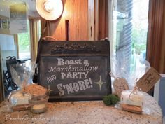 S'more Chalkboard Sign at Fort Whyte Alive Cake Table, Dessert Table, Wedding Events, Weddings, Chalkboard Signs, Event Photos, Favors, Tables, Green