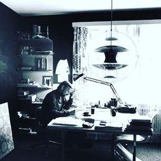 Verner Panton in his studio, Basel, c.1969 featuring the famous VP Globe pendant. #vernerpanton #verpan #vpglobe #globe #pendant #lighting #design #danishdesign #danish #denmark #iconicdesign #designclassic #thelollipopshoppe #tlshoppe