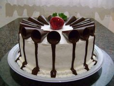 Vanilla cake topped with chocolate decor