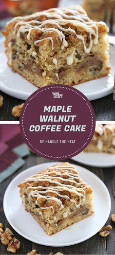 This coffee cake from Handle the Heat really doubles down on the maple flavor. It's got both maple extract and maple syrup, and it's topped with a brown sugar streusel and a maple syrup icing.
