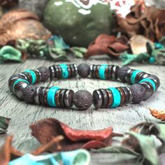 Sublime men/women Bracelet beads Ø natural stone lava volcanic black Turquo. Diamond Bracelets, Pearl Bracelet, Bracelets For Men, Fashion Bracelets, Beaded Bracelets, Leather Bracelets, Beaded Jewelry, Bangles, Accessories