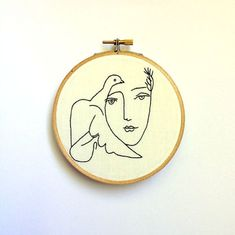 Hand Embroidered Pablo Picasso Line Drawing Framed by SewAppalled