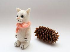 White Cat 45   Needle Felted Miniature Soft by MrBearFamily, $37.00