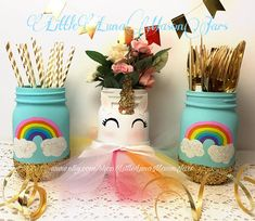 This listing is for the set of 3 as pictured. You get to pick the size of jars. The perfect centerpiece for that unicorn themed special occasion and looks gorgeous in the kids room too. The jars are hand painted with chalk paint. The unicorn comes with the paper glitter gold horn