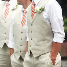 A gorgeous peaches and cream Southern wedding with aqua accents. Check out the stylish groomsmen!