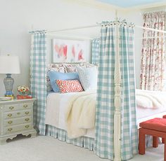 Gorgeous Buffalo Check in Aqua Coupled  With The Deep Coral Accessories ...Love It :)