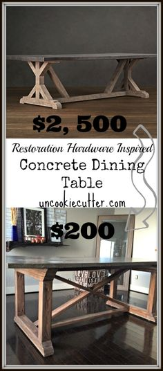Outside patio table DIY Restoration Hardware Copy Concrete Farmhouse Table For Less than ONE TENTH of the Price ! Concrete Top Dining Table, Diy Dining Table, Diy Farmhouse Table, Dining Rooms, Rustic Farmhouse, Farmhouse Style, Patio Dining, Diy Patio Tables, 10 Person Dining Table